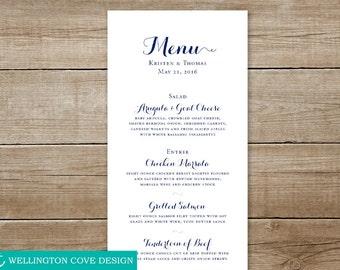 Printable Wedding Menu • Calligraphy-style Digital Download •  Elegant Shower Menu • Easy Downloadable Menu • Script Cursive Navy Custom