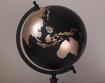 "Hand painted globe. 8"" Globe. Wedding Guest book. Travel Gift"