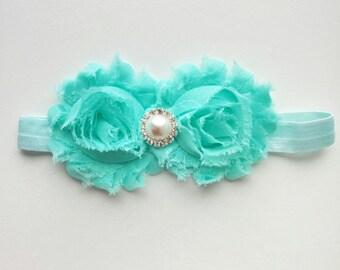 Mint baby headband, newborn baby headband, baby hairbow, christening headband, baby bow, baby shower gift, photo prop, gift for baby