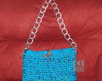 Bag in light blue cotton ribbon