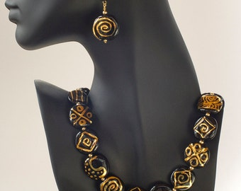 Kazuri Gold Pattern Beads Earring Set