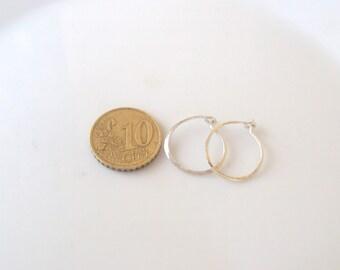"""Small 0.6""""(1.5mm) Hoop Earrings-Tiny Silver Hoops -Sterling Silver Hoop Earrings- -Minimalist  Silve"""