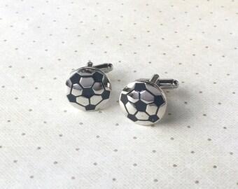 Soccer Ball Cufflinks Cuff Links in Silver