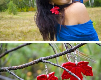 earrings red maple leaf autumn botanical earrings red leaves autumn fall leaves large red earrings from polymer clay big red earring
