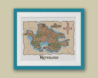 BOGO FREE! Neverland Map Cross Stitch Pattern, Peter Pan Map, Disney, Modern Cross Stitch, Embroidery Needlework PDF Instant Download #008-3