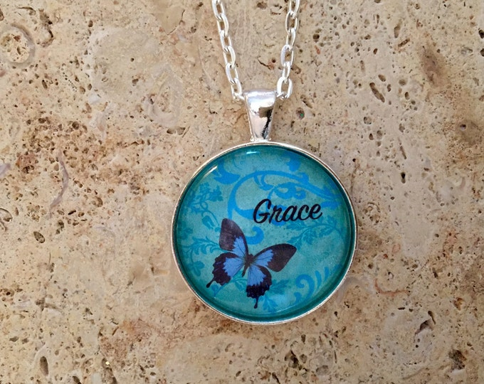 Teal and Blue Butterfly round glass pendant with word Grace on a silver link chain necklace, Christian Gifts, Gift for Her.