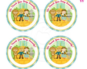 Wizard of Oz Printable Party Favor Tags, Printable Wizard of Oz Party Favors, Oz Party Favor Circle Tags, We Thank You very Sweetly