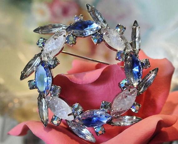 Givre Glass Rhinestone Brooch Art Glass 1960s 60s Mid Century Brooch AB Aurora Borealis Spiky Navettes Brooch Wedding Bride Aquamarine Blue
