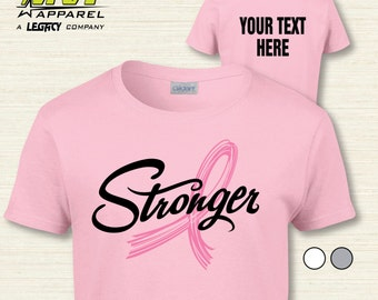 Breast Cancer Awareness Ribbon Custom Tee - STRONGER PERSONALIZED T-SHIRT   ID5