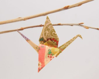 """Pink crane and Golden volutes"" origami pins"