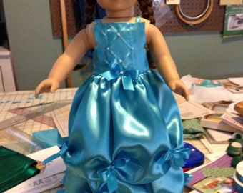 Satin Party Dress with seed pearls and bows
