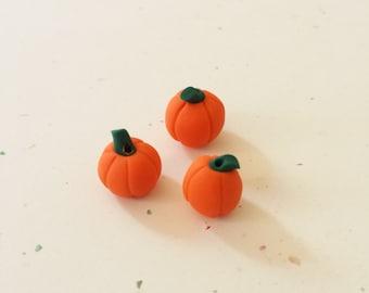 Polymer Clay Pumpkin Beads/ Set Of Three 10mm Handmade Pumpkins/ Jewelry Supplies/ Beads/ Autumn Crafts/ Fall/ Beading