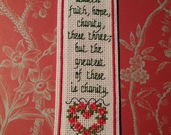 Rose Wreath Corinthians / Hand Embroidered Bookmark