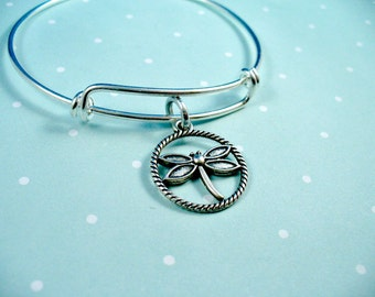 Dragonfly,  Circle Of Rope Charm, Adjustable Charm Bangle, Stainless Steel Bangle Bracelet, Trendy, Dragonfly Bangle, Personalize It