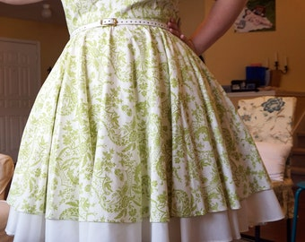PRICE REDUCED - 1950s Inspired Lime Toile Dress - XL