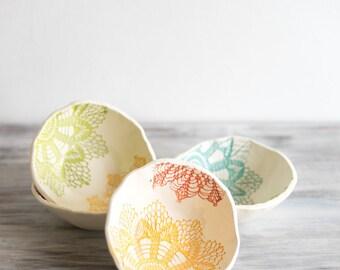 Handmade Ceramic Salad Bowls, Set of 4, Green, Blue, Red, Yellow