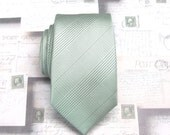 Mens Ties. Narrow Ties. Pastel Sage Green Plaid Mens Necktie with Matching Pocket Square Option. Wedding Ties.