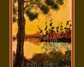 "11""x14"" Bayou Sunset with digital matting by Leslie Berg"