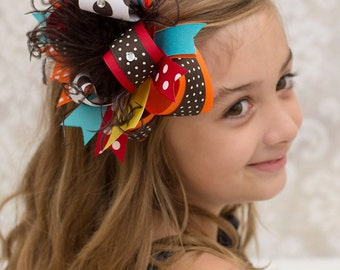 Thanksgiving Over the Top Hair Bow, Fall Thanksgiving Over the Top Headband, FREE Headband Included