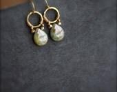 Gold Brass Hoop Dangle Drop Earrings - Mottled Mint Green, Rustic Brown, Wire Wrap, Earthy Boho Jewellery