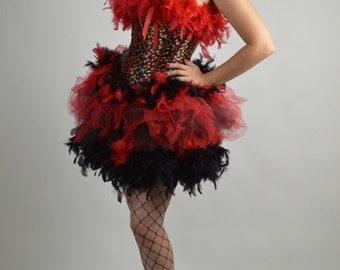 Rockabilly Burlesque Costume, Cherry Print, Pin Up Corset, Feathered Costume, Rockabilly  Burlesque Costume, Vegas Show Girl