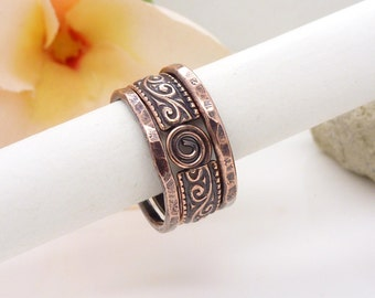Copper stacking rings, Spiral ring set, stackable copper ring set, size 6 M small medium