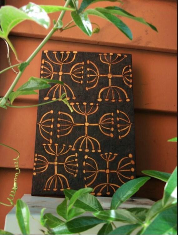 abstracted seedpod ooak design-upcycled wood, wall hanging,  woodburning, burnedfurniture, pyrography