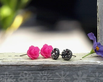 2 Pair Set Hot Pink Rose and Gunmetal Gray Faux Druzy Earrings, 8mm Dark Gray Glitter Studs, 10mm Pink Rosettes, Myths and Meadows