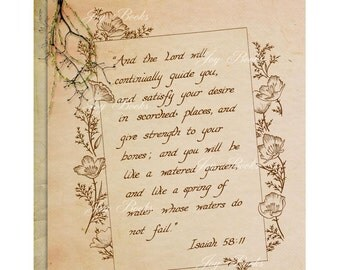 ISAIAH 58:11 Christian Home & Office Decor Inspirational Calligraphy Wall Art Vintage Verses Rustic Wall Art Sepia Watered Garden Hope Sale