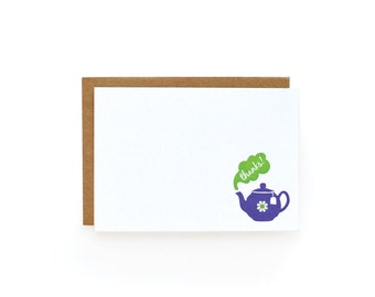 Letterpress Thank You Notes, Tea Party - set of 8