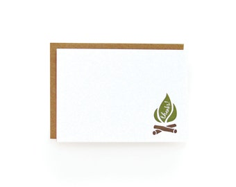Letterpress Thank You Notes, Camping - set of 8