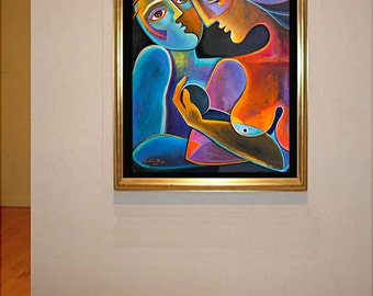 Cubism Painting Abstract Modern Art Original acrylic Marlina Vera Artwork Fruit of Love Couple Love Mother Father mère père Madre figurative