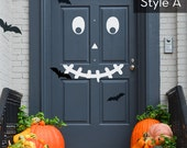 Halloween Pumpkin Face Door Decorations - Vinyl Wall Decal - Spooky Door Decoration, Scary Door Decoration, Halloween decals, pumpkin decor
