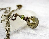 Forest Green Necklace Emerald Crystal Necklace Victorian Olive Moss Green Drop Single Crystal Pendant Vintage Style Antique Brass Gift