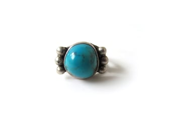 Vintage Turquoise Sterling Silver Ring Mens c.1960s