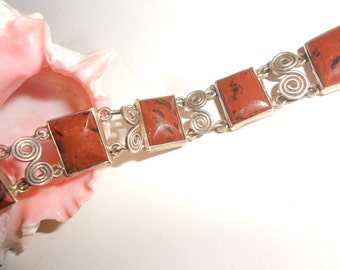 Red Jasper Taxco Bracelet -Sterling Panel Link Old Mexican Hallmarked Fashion