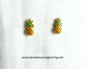 Mini Pineapple Fruit Post Stud Earrings - Surgical Steel Posts