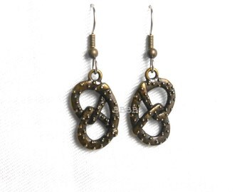 Antiqued Bronze Pretzel Charm Earrings - Surgical Steel French Hooks SALE USA