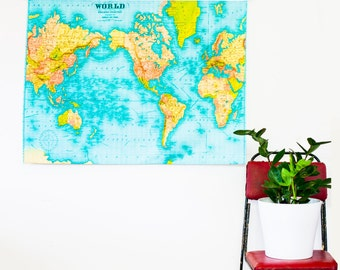 WORLD MAP wall hanging, education chart,  86cm/34inches x 61cm/ 24 inches wall hanging/ wall chart / world chart / world poster