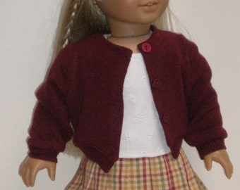 Plaid Pleated Skirt, Blouse & Sweater Molly or Emily 18 inch doll clothes