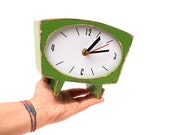 Wood Table Clock, Desk Fresh Green Clock, Unique Gift Birthday and Wedding, gift ideas for Mother, Vintage style 70s for her