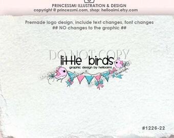 1226-22  birds logo, business card, banner , birds, bunting logo, cute banner flag bow logo, business boutique logo , party shop, watermark