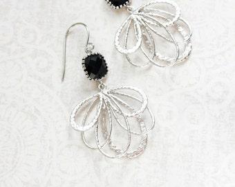 Black Glass Earrings Silver Dangle Floral Filigree Earrings Modern Boho Bridesmaids Gift Modern Lightweight Everyday Earring Black Wedding