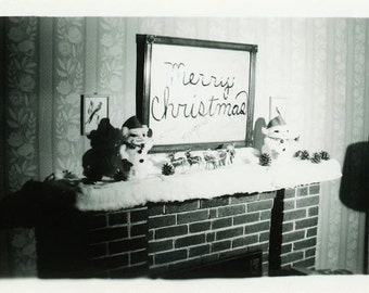 "Vintage Photo ""Merry Christmas"" Mirror Snapshot Photo Old Antique Photo Black & White Photograph Found Photo Paper Ephemera Vernacular - 130"
