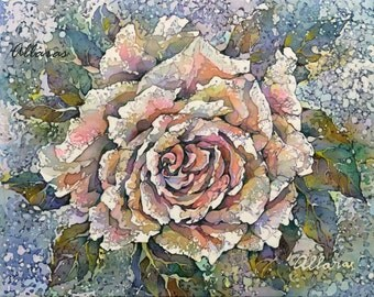"Pink Garden Rose. Painting on Silk. Original Painting. One of a kind Artwork. 8 x 10"" (20 x 25 cm) Ready to ship."
