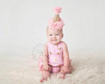 1st birthday hat, girls birthday hat, sparkle number birthday hat, blush and gold hat, 2nd birthday hat, girls birthday headband, baby girl
