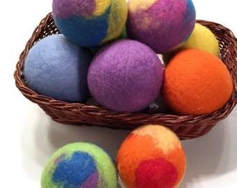Merino Wool Dryer Balls - MULTI- COLOR Merino Wool Dryer Balls - Eco Friendly Wool Dryer Balls - Complimentary Scent or Unscented