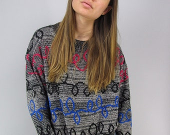 On Sale - Vintage 80s Sweater, Abstract Sweater, Slouch Sweater, Boyfriend Sweater, Boxy, Jumper Δ fits sizes: xs / sm / md