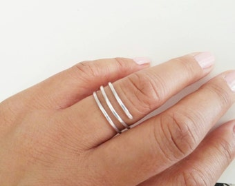 Sterling Silver Triple Band Ring. Bypass Coil Ring. Wrap Around Ring. Stacking Look Multi Band Ring. Everyday Ring. Israel Jewelry Gifts