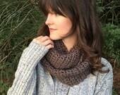 Chunky Crochet Infinity Scarf, Circle Cowl Scarf   Mocha Brown   Vegan Yarn